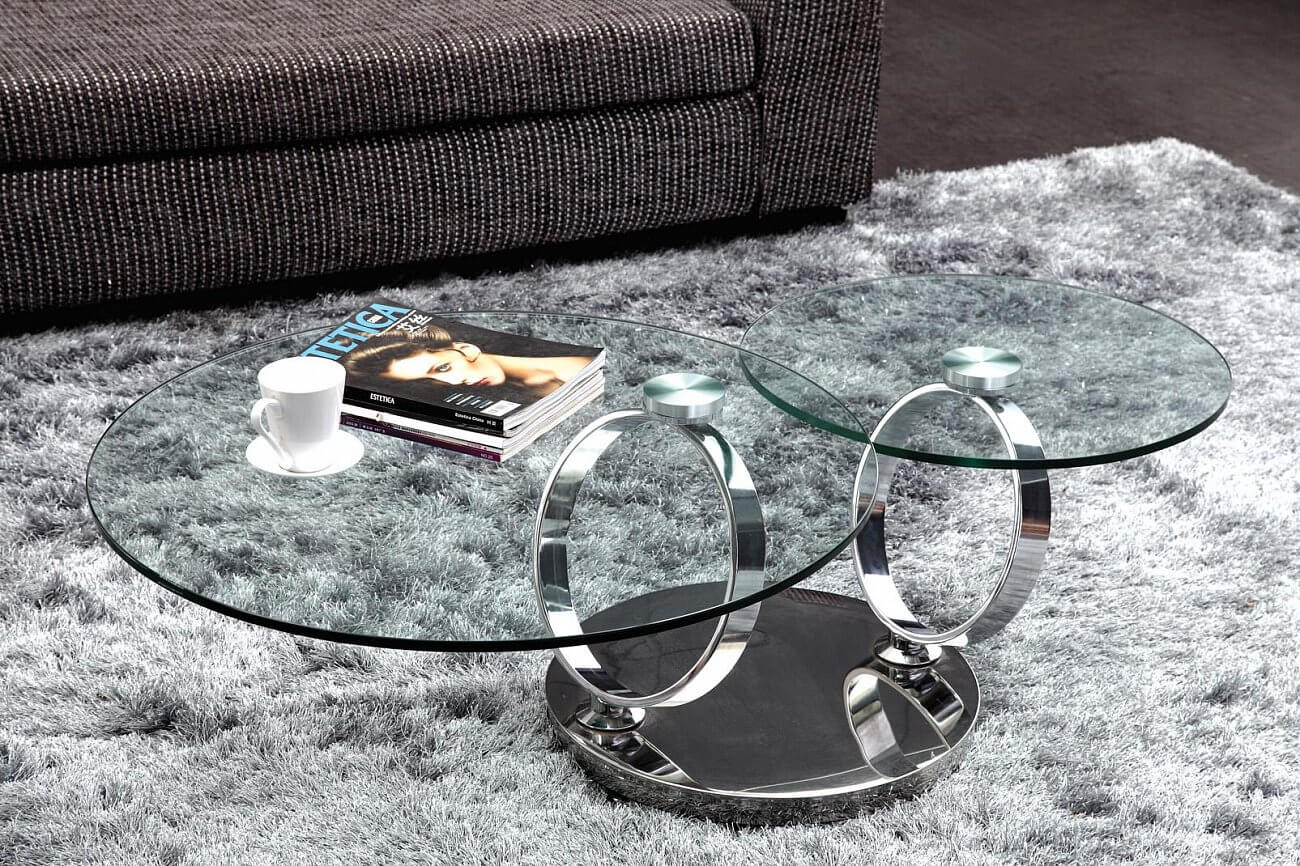 Круглый журнальный стол с металлическим основанием