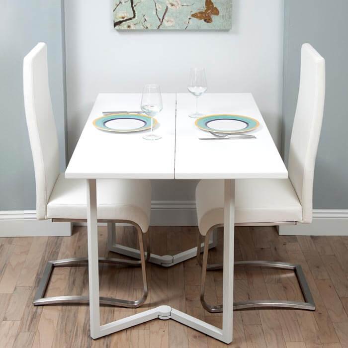 Белый стол трансформер для маленькой кухни