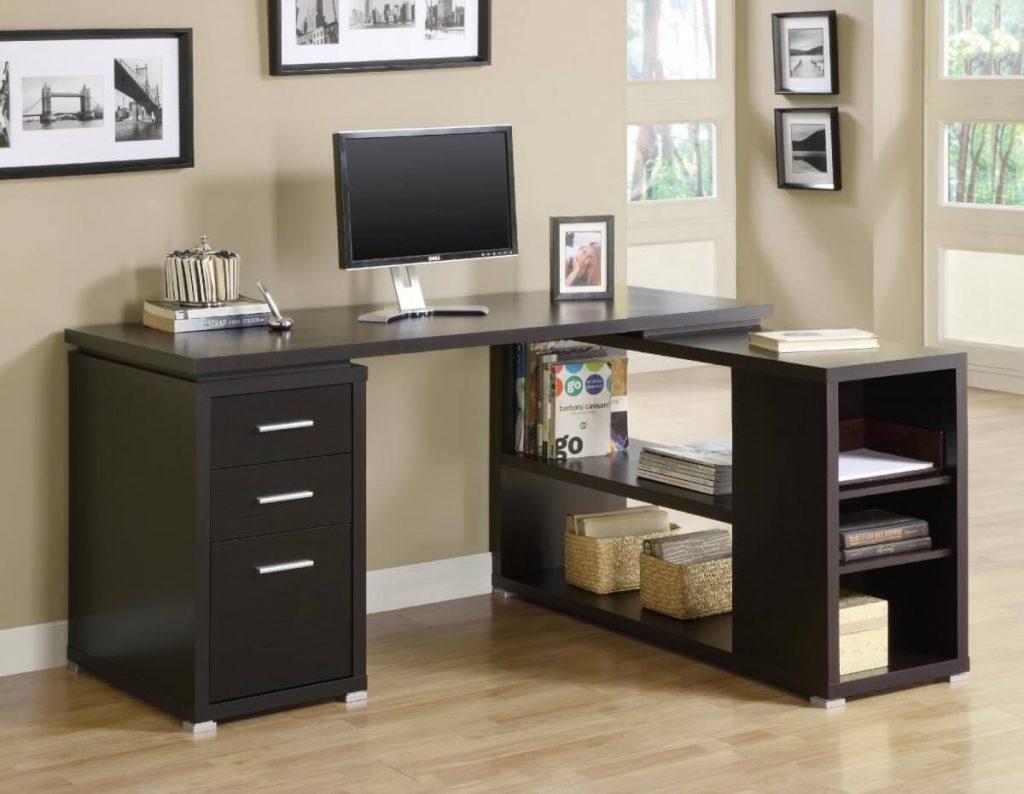 Угловой компьютерный стол черного цвета
