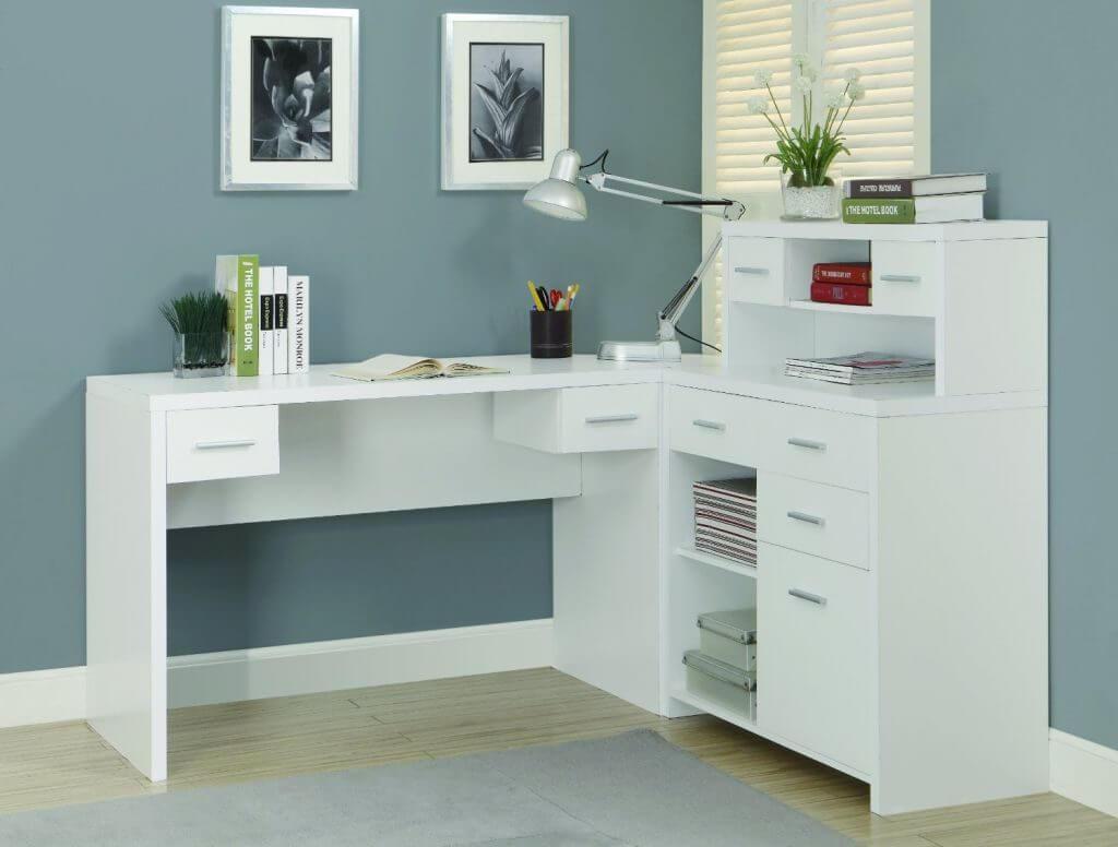 Белый угловой письменный стол