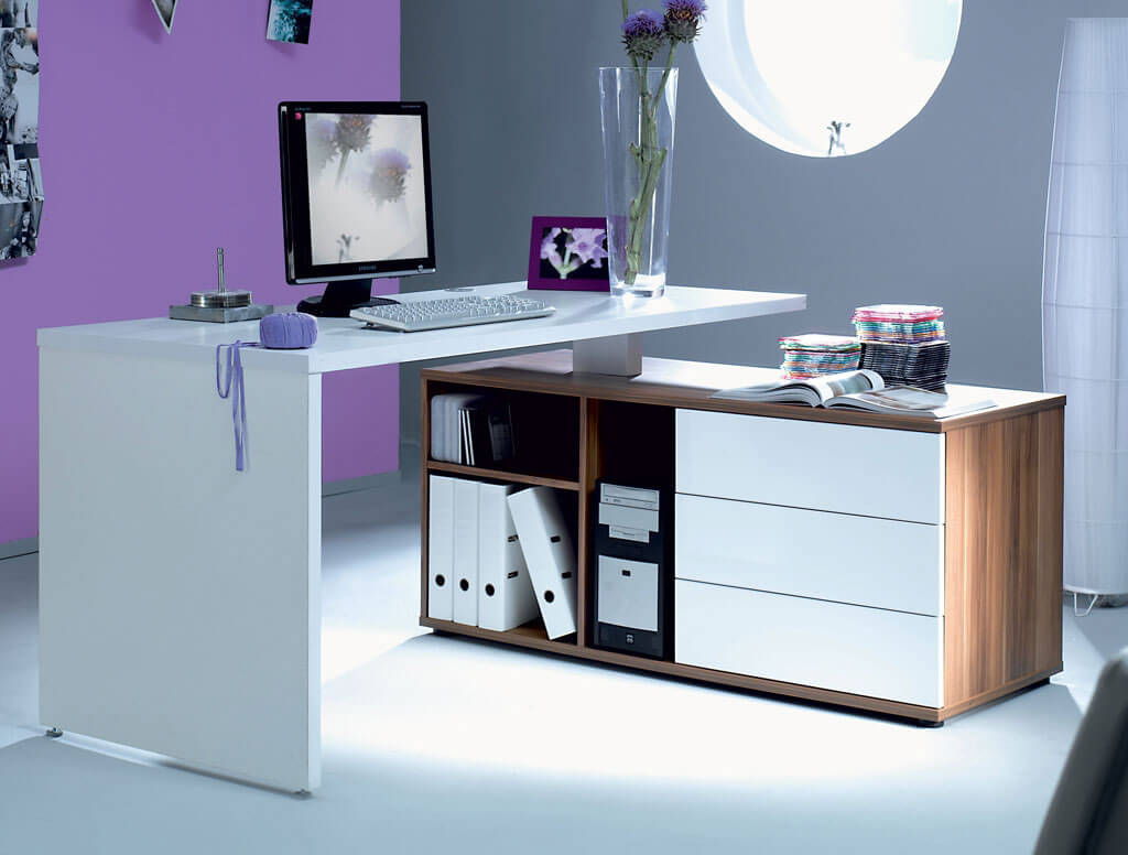 Фото белого углового письменного стола