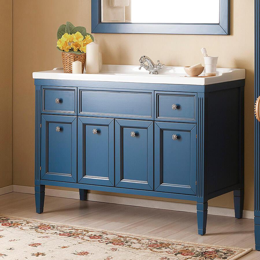 Комод для ванной синего цвета