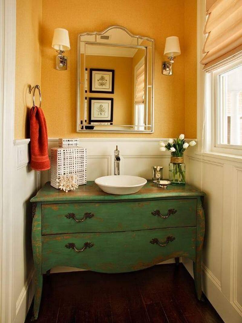 Комод для ванной зеленого цвета