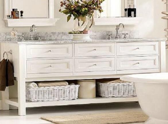 Фото белого комода в ванну
