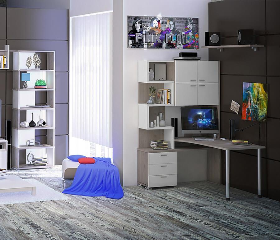 Стол компьютерный с надстройкой белого цвета