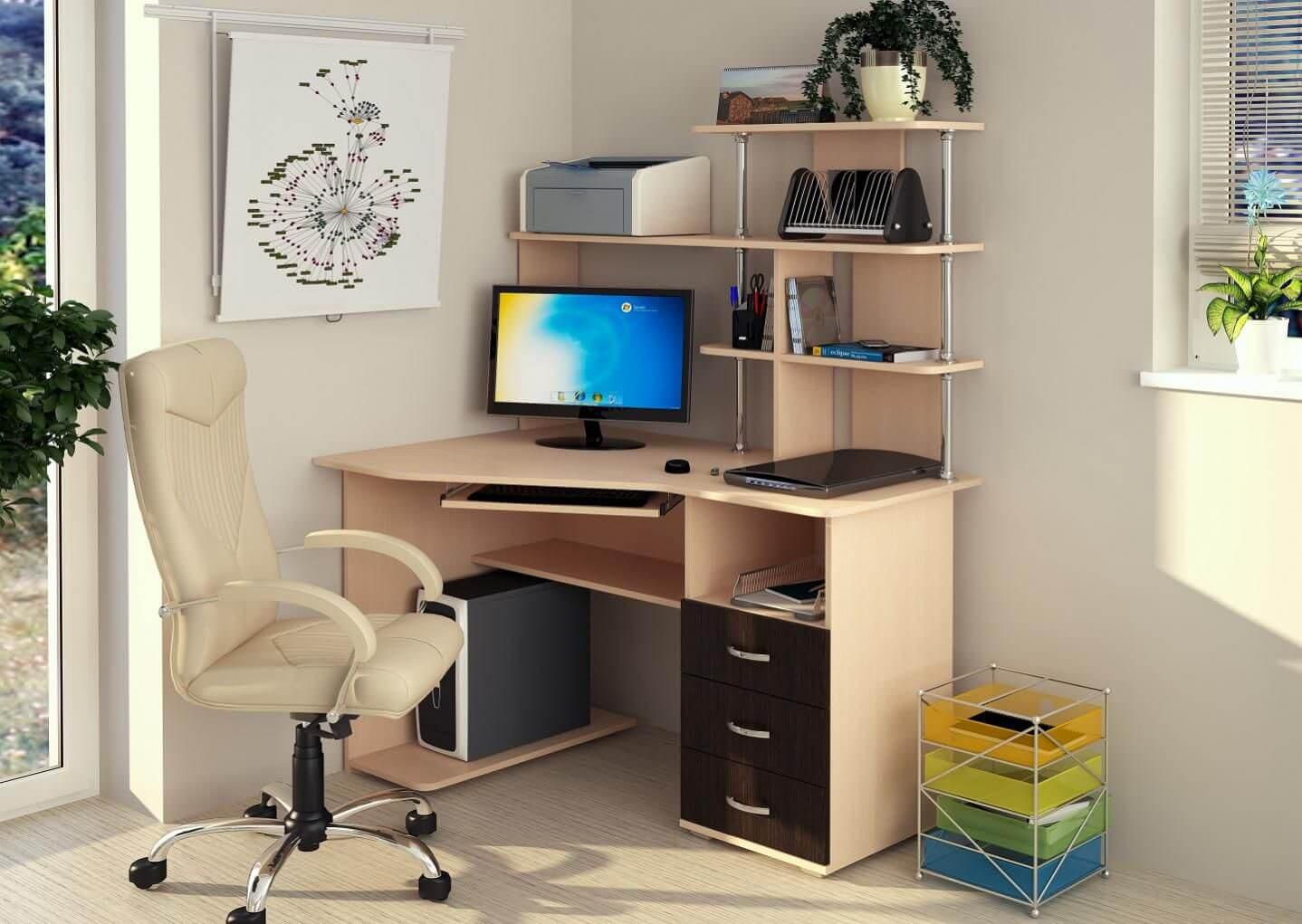 Фото углового компьютерного стола с надстройкой