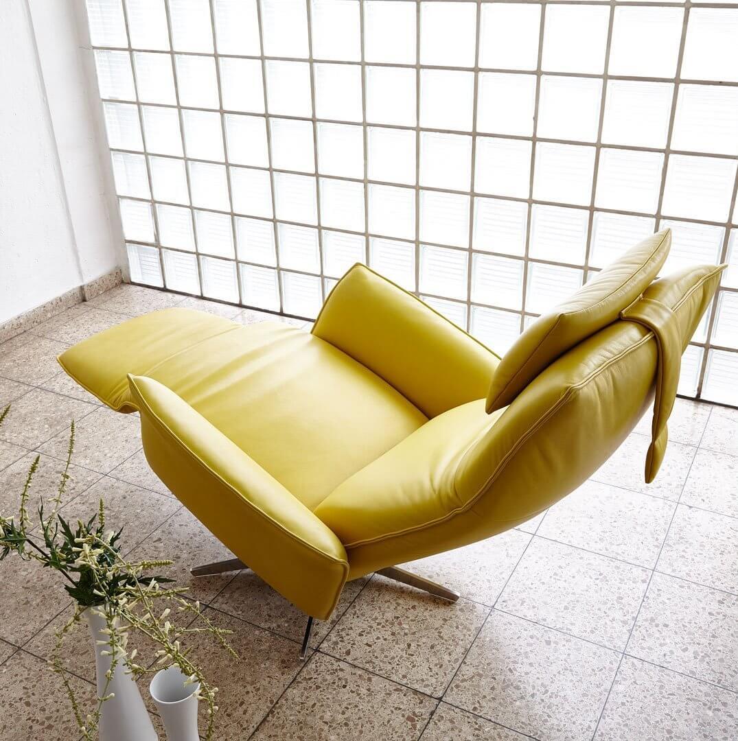Кресло реклайнер желтого цвета