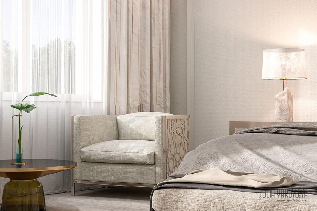 Кресло на металлическом каркасе в интерьере спальни