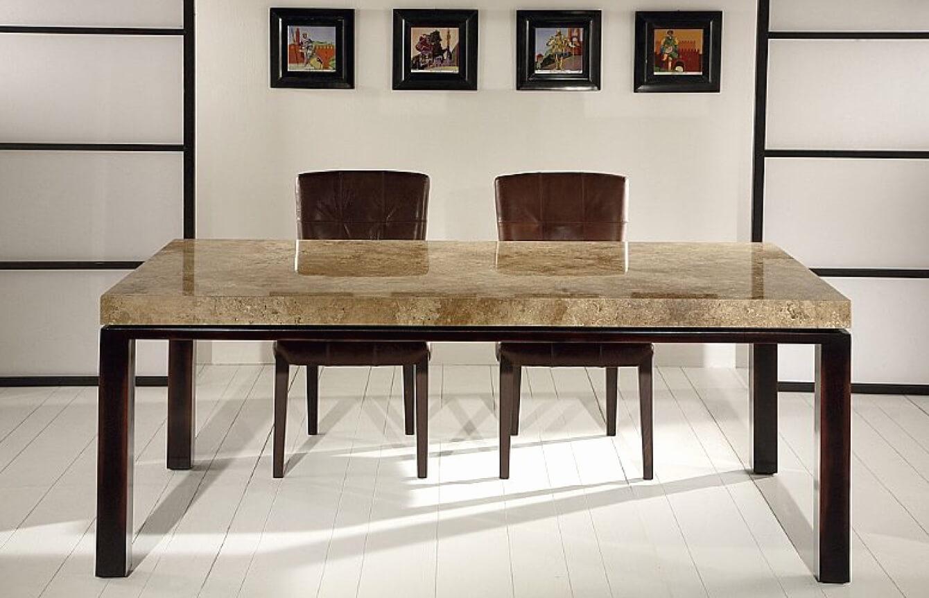 Белый кухонный стол с каменной столешницей