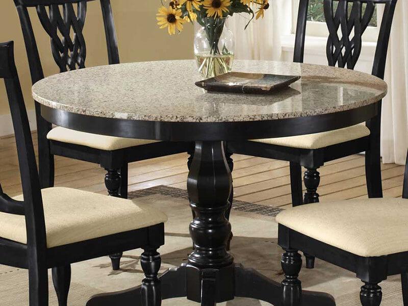 Круглый стол с каменной столешницей