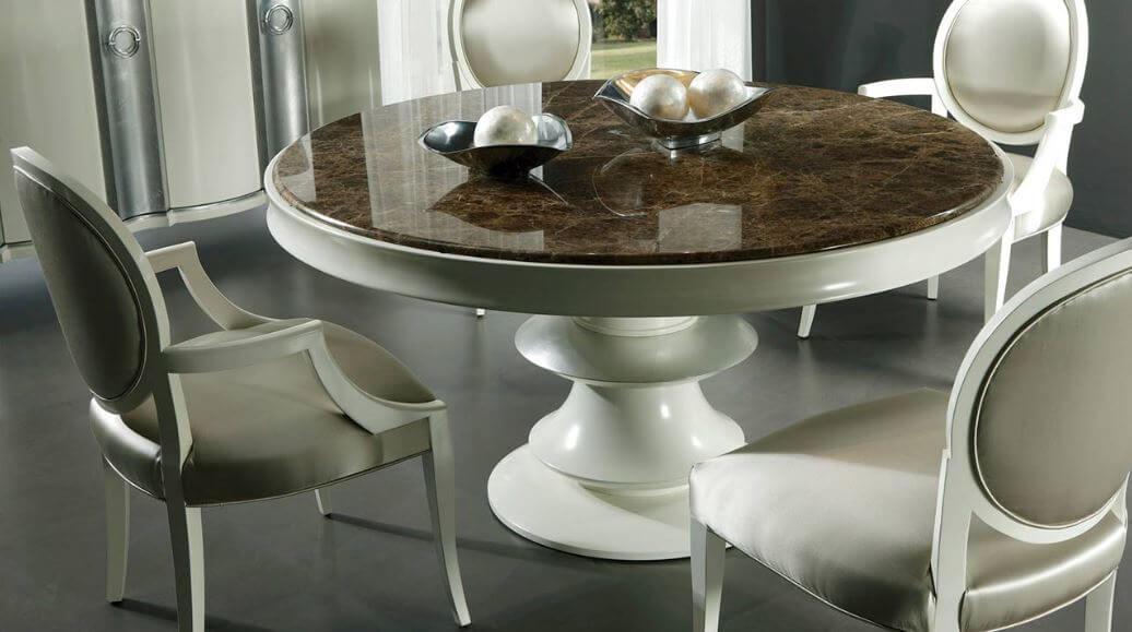 Круглый кухонный стол из камня