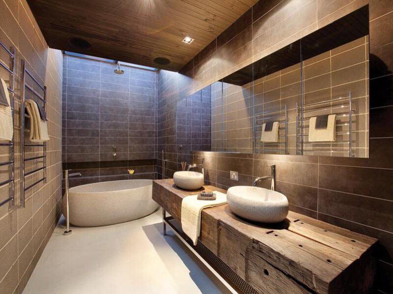 Подвесная тумба под раковину в ванную из массива дерева