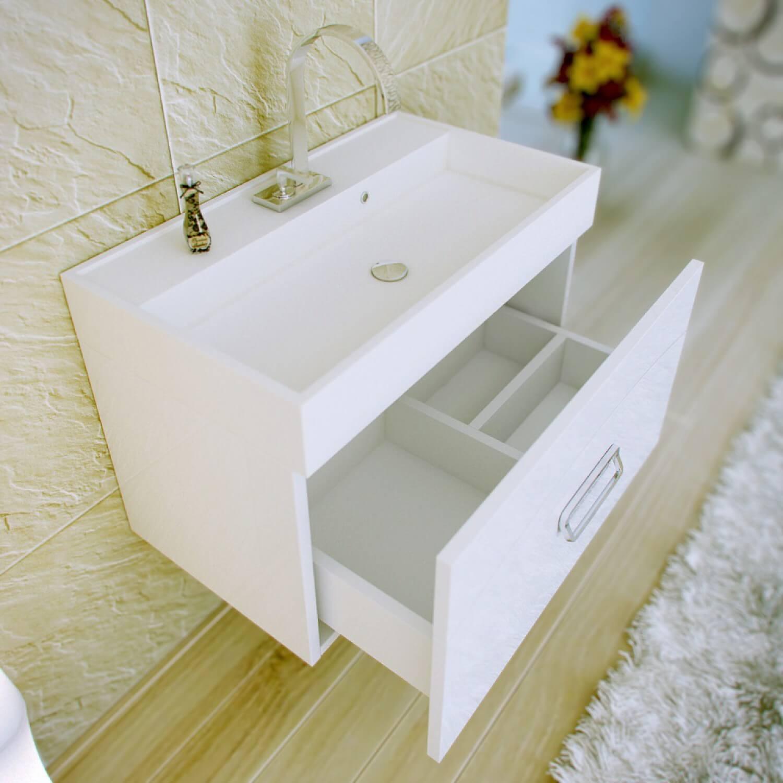 Подвесная тумба под раковину в ванную белого цвета