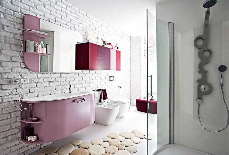 Подвесная тумба под раковину в ванную сиреневого цвета
