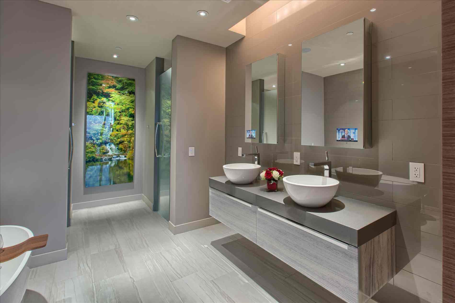 Фото навесной тумбы под раковину в ванную