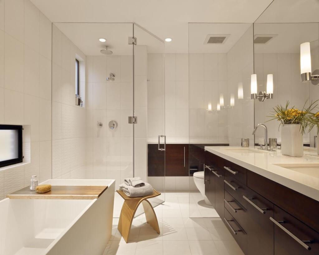Подвесная тумба в ванную с врезной раковиной
