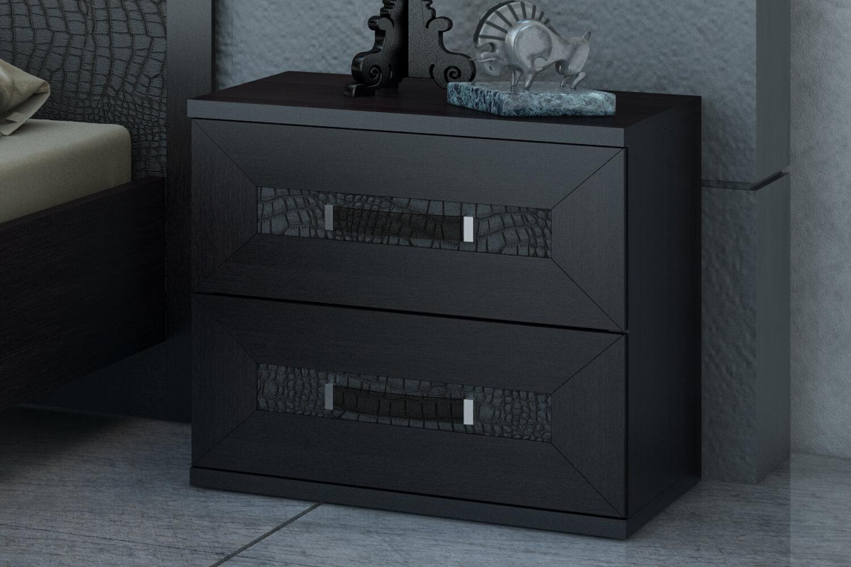 Современная прикроватная тумбочка черного цвета