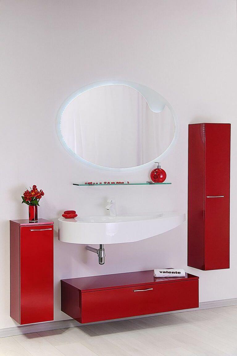 Красная тумба для ванной комнаты без раковины
