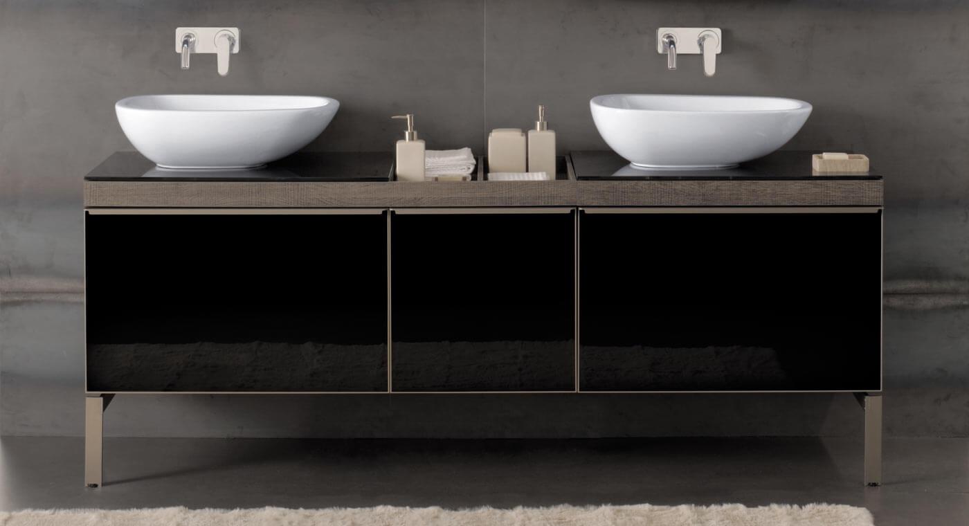 Тумба с раковиной в ванную черного цвета