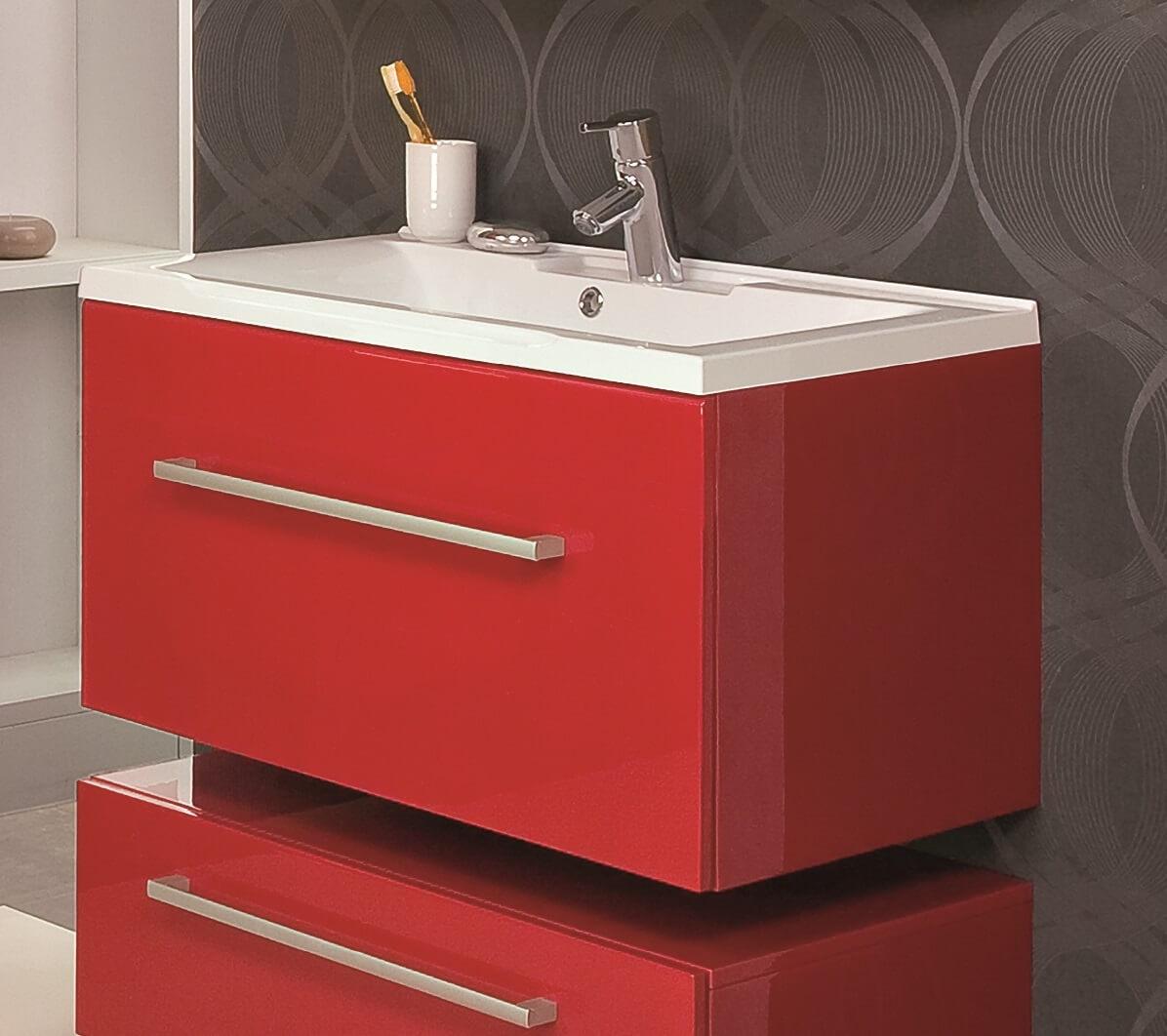 Тумба с раковиной в ванную красного цвета