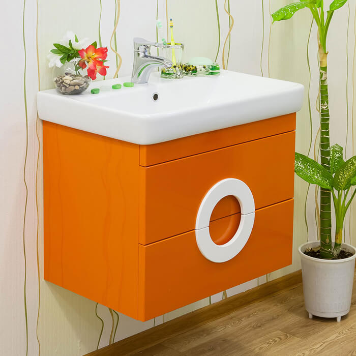 Тумба под раковину в ванную оранжевого цвета