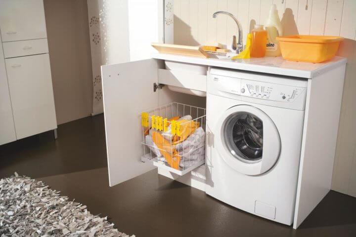 Тумба под стиральную машинку с раковиной и корзиной для белья