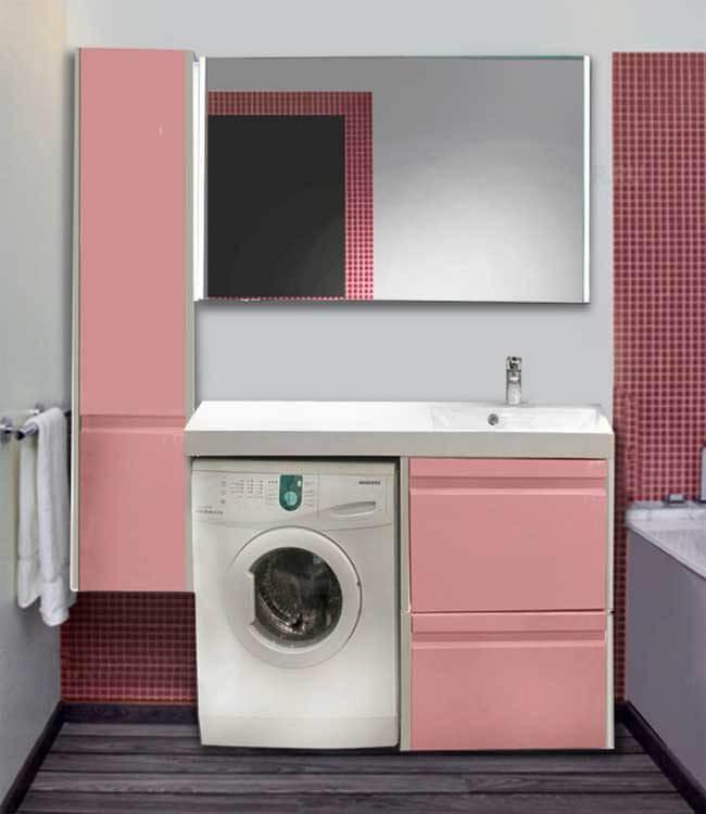 Тумба под стиральную машинку с раковиной розового цвета