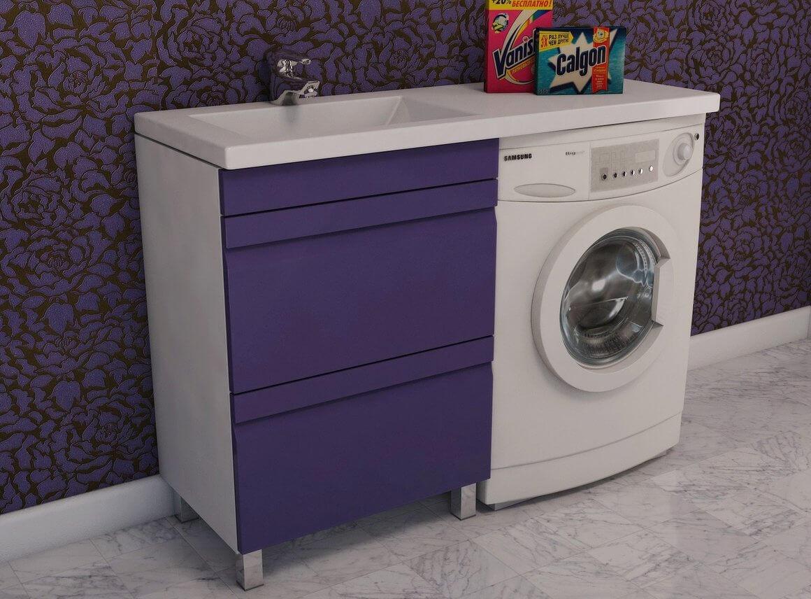 Фиолетовая тумба под стиральную машинку с раковиной
