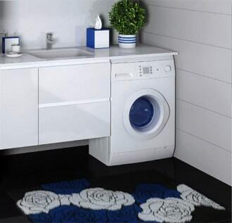 Фото тумбы под стиральную машинку с раковиной белого цвета
