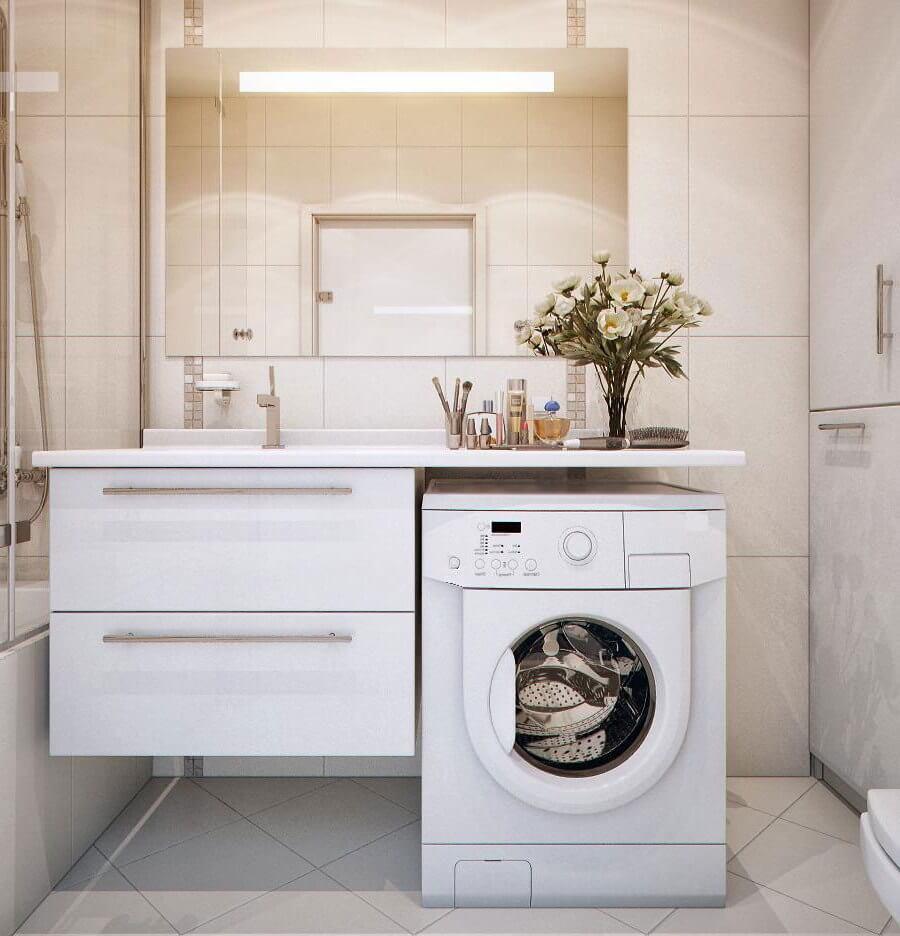 Белая тумба под стиральную машинку с раковиной