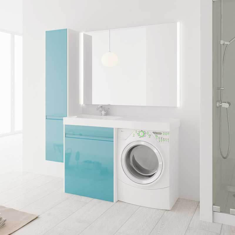 Тумба под стиральную машинку с раковиной голубого цвета