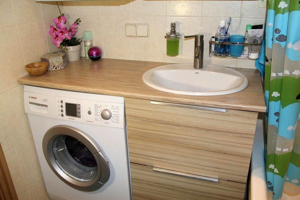 Тумба под стиральную машинку с раковиной