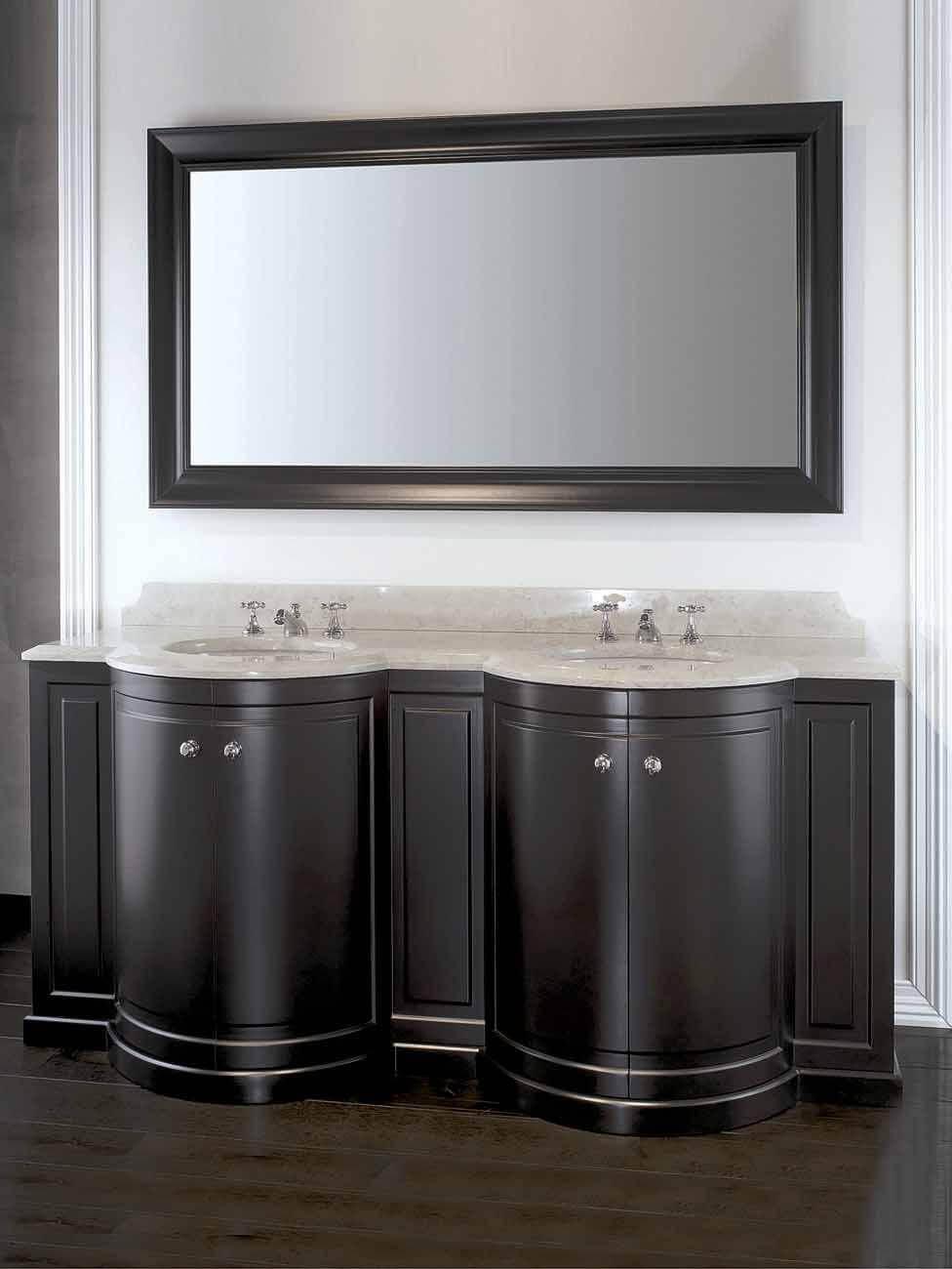 Тумба с двойной раковиной в ванную черного цвета