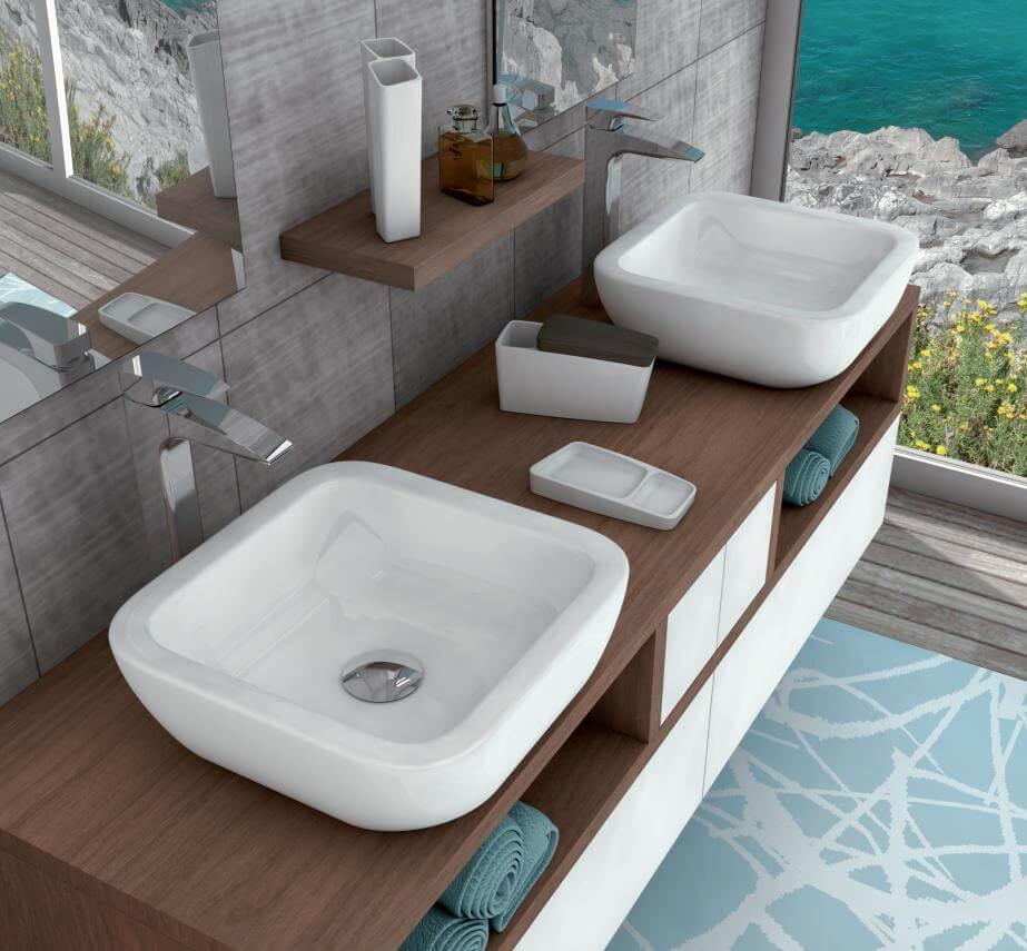 Фото тумбы с двойной раковиной в ванную