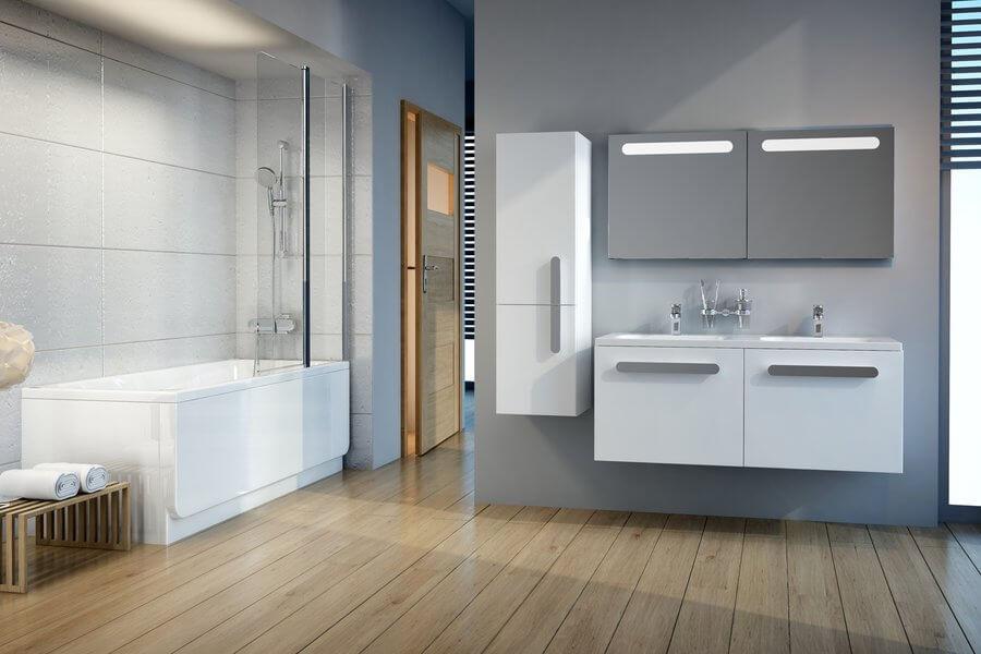 Фото белой тумбы с двойной раковиной в ванную