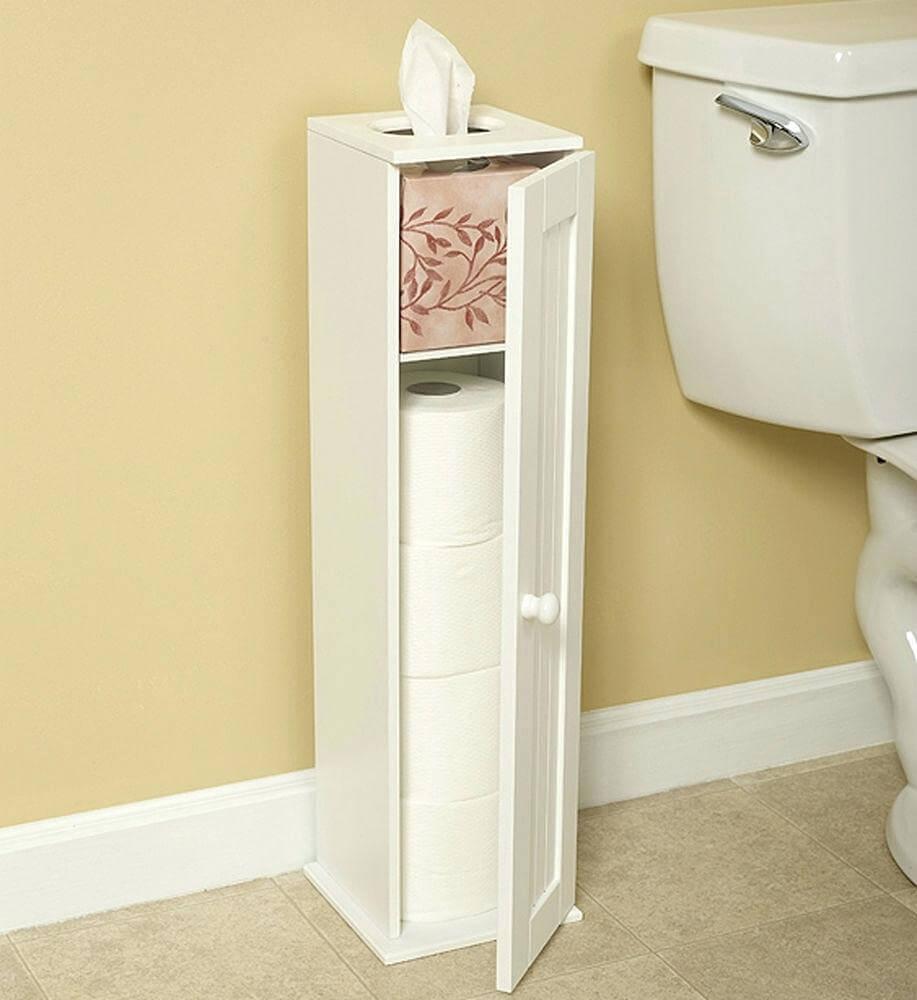 Узкая тумба в туалет с распашной дверцей
