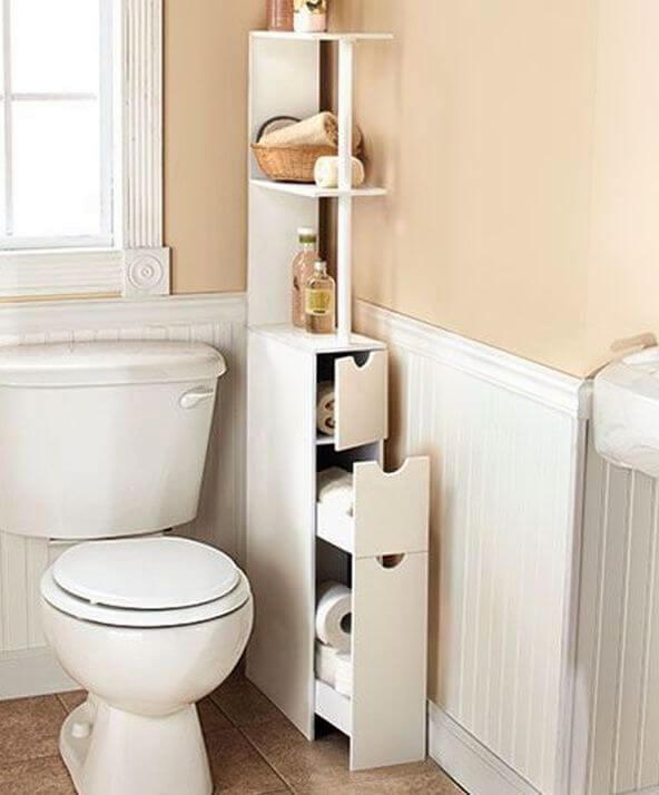 Узкая тумба в туалет с выдвижными ящиками