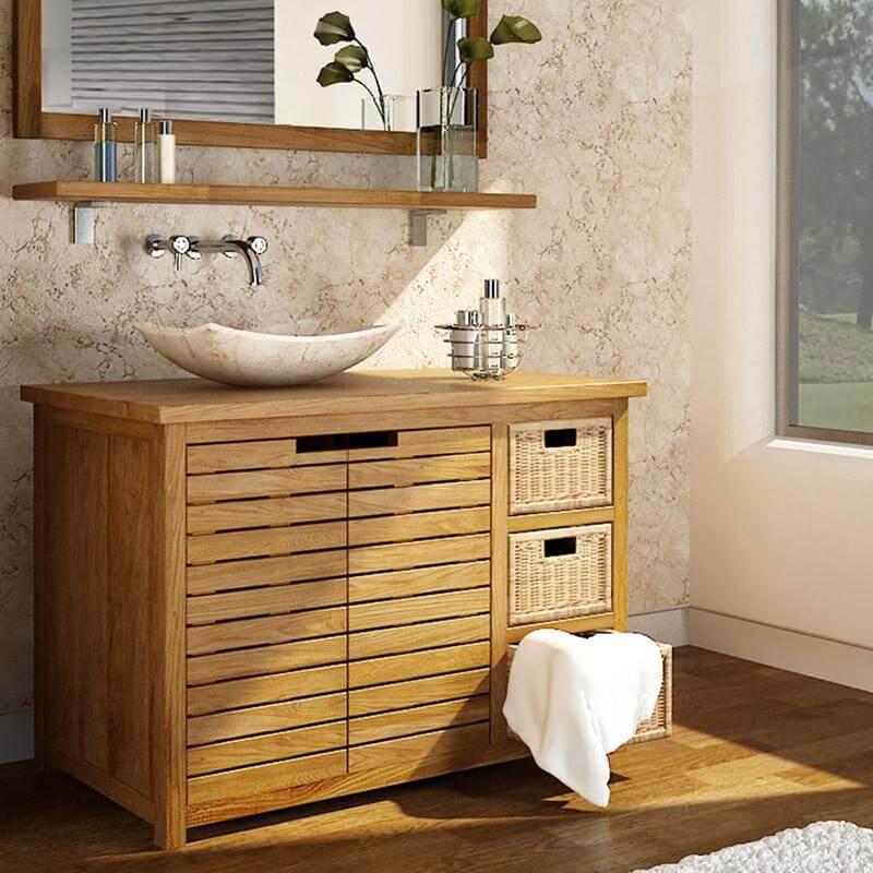 Тумба в ванную комнату со столешницей из массива дерева