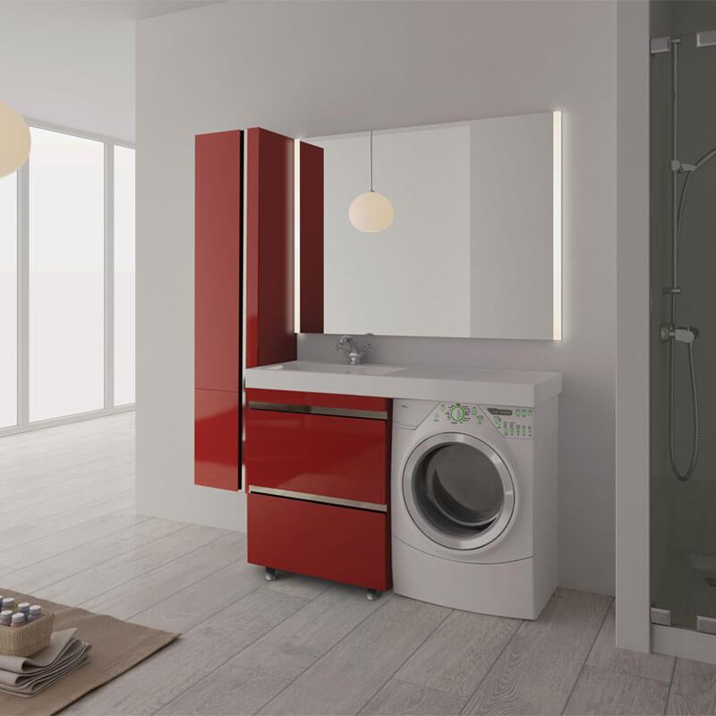 Тумба в ванную комнату со столешницей красного цвета