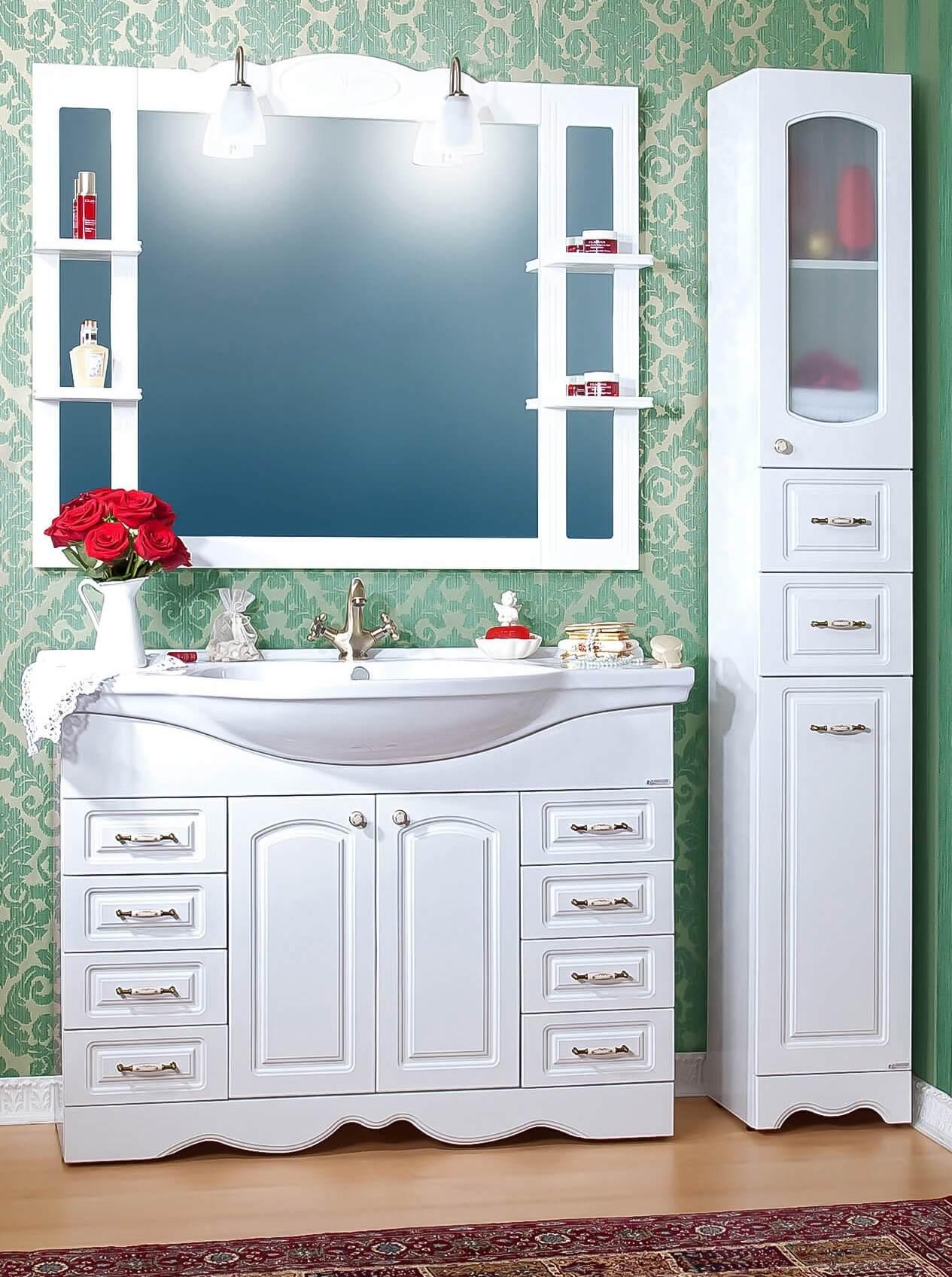Тумба с зеркалом в ванную белого цвета