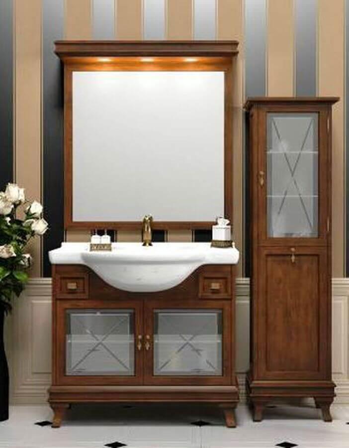 Фото тумбы с зеркалом в ванную