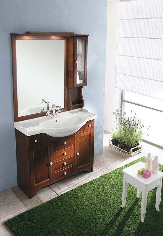 Тумба в ванную с зеркалом