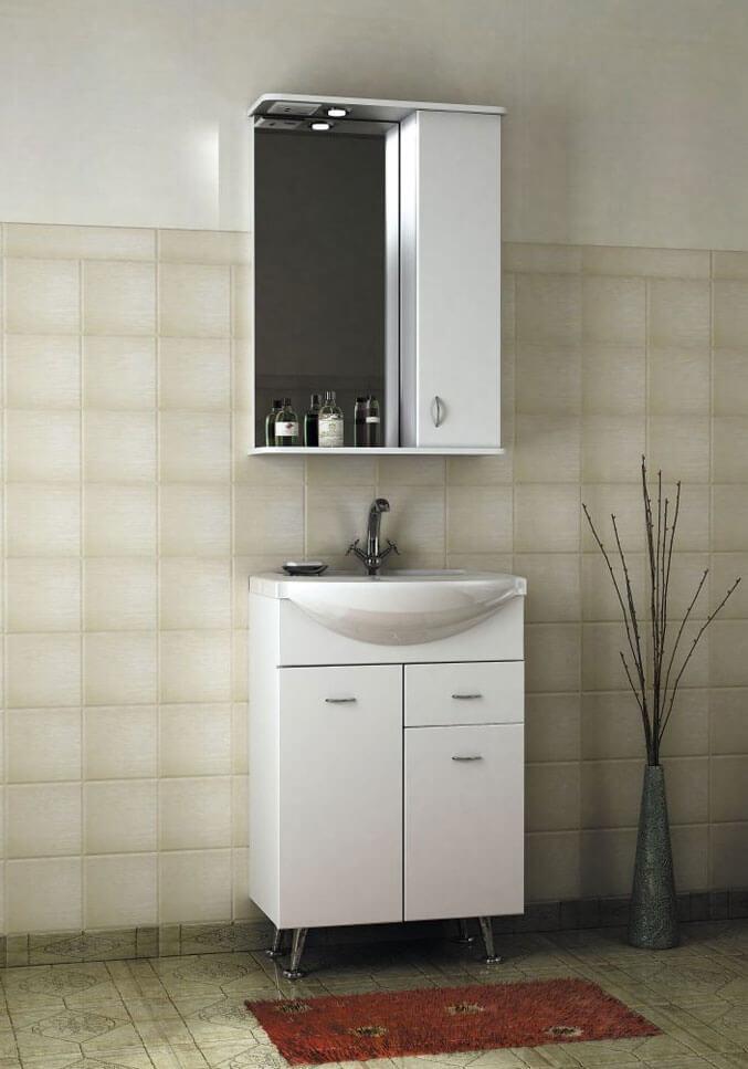 Тумба с зеркалом в ванную белая