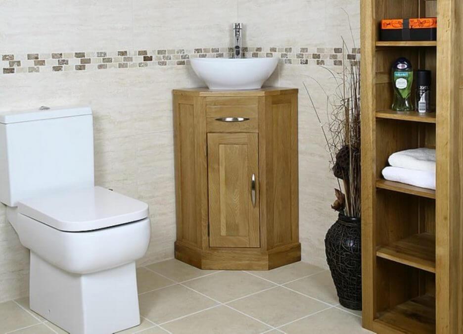 Угловая деревянная тумба в ванную