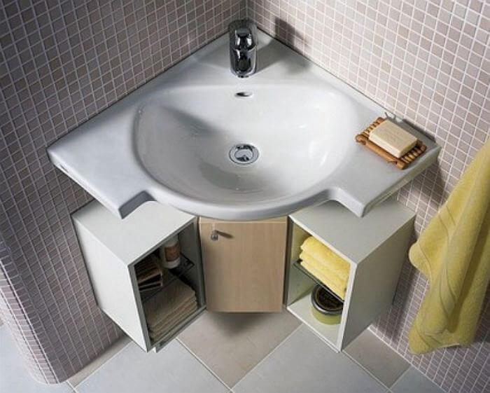 Угловая подвесная тумба в ванную