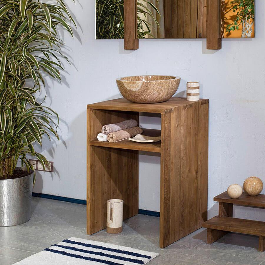 Тумба из дерева под раковину в ванную