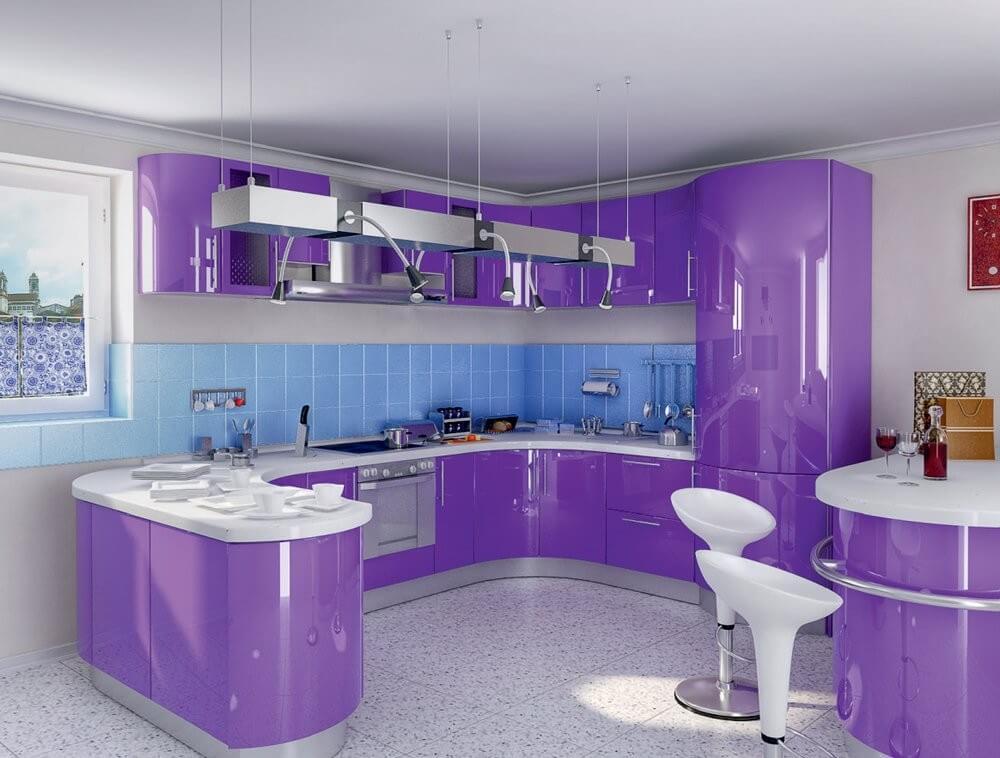 Тумбочки для кухни с ящиками фиолетового цвета