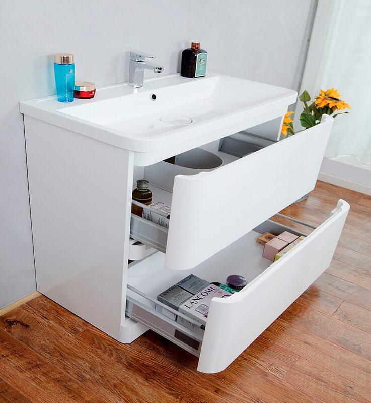 Напольная тумба с раковиной в ванную с выдвижными ящиками
