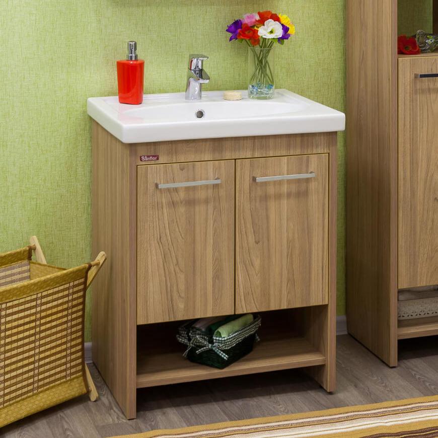 Фото напольной тумбы с раковиной в ванную с цоколем