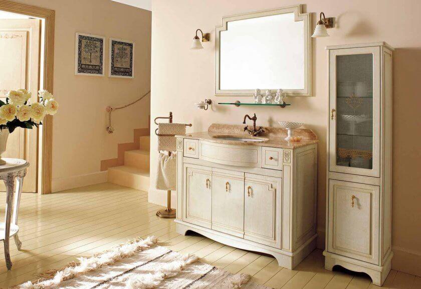 Напольная тумба с раковиной в ванную с цоколем
